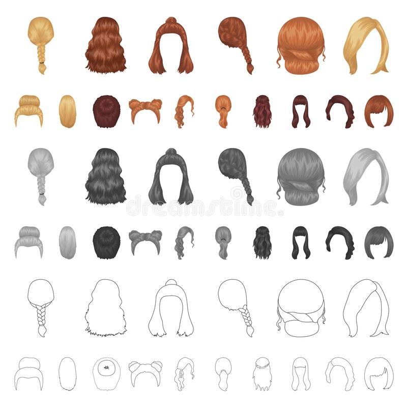 Female hairstyle cartoon icons in set collection for design. Stylish haircut vector symbol stock web illustration. royalty free illustration