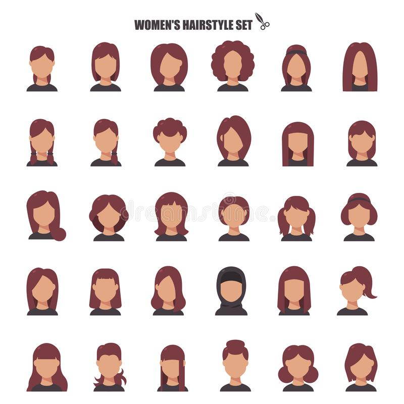 Female hairstyle cartoon,monochrom icons in set collection for design. Stylish haircut vector symbol stock web stock illustration