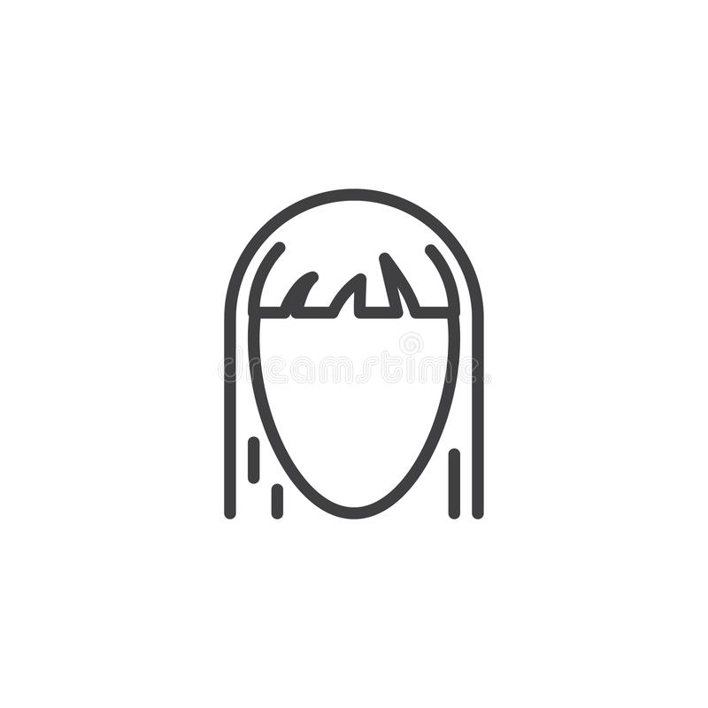 Female hairstyle line icon. Linear style sign for mobile concept and web design. Woman hair styles outline vector icon. Symbol, logo illustration. Pixel vector illustration