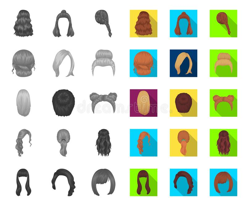 Female hairstyle mono,flat icons in set collection for design. Stylish haircut vector symbol stock web illustration. stock illustration