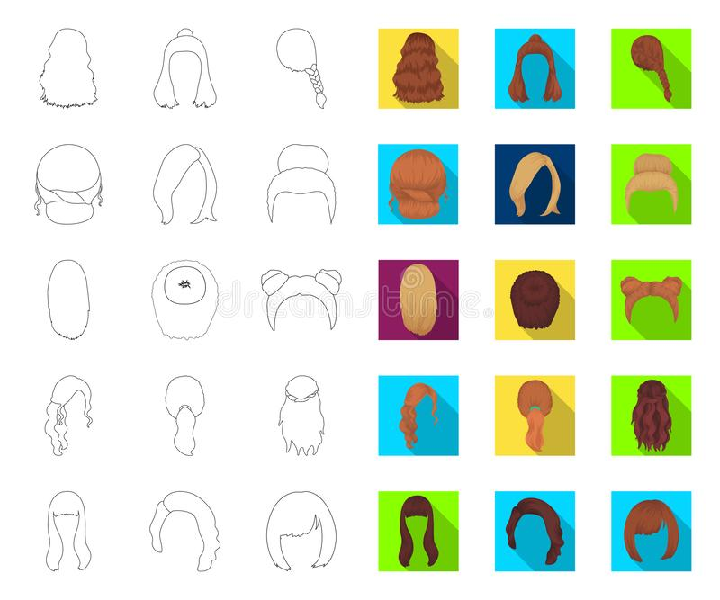 Female hairstyle outline,flat icons in set collection for design. Stylish haircut vector symbol stock web illustration. vector illustration