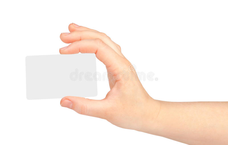 Female hand with a blank card on white. Background royalty free stock images