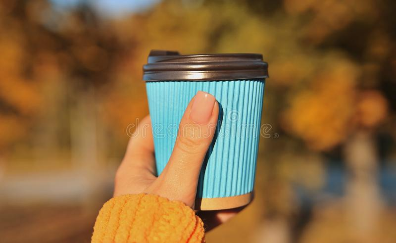 Female hand with blue paper cup of coffee on autumn background. royalty free stock photography