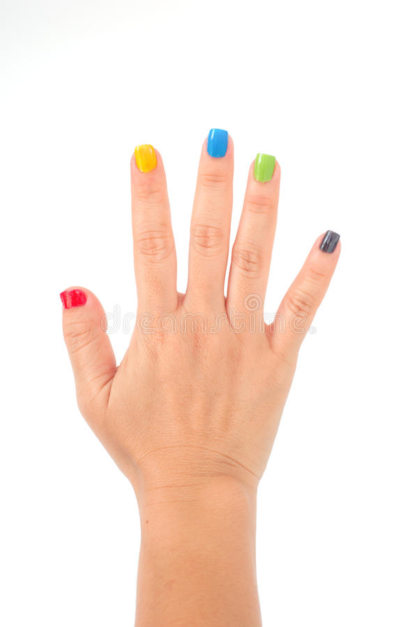 Female hand with colorful manicure