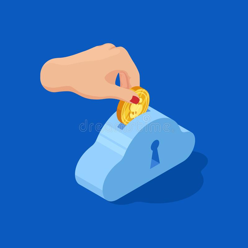 Hand drops dollar into bank. Save money vector concept vector illustration