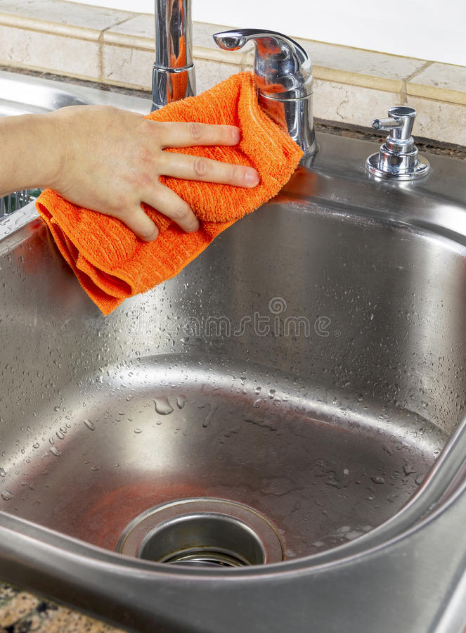 Free Female Hand Drying Kitchen Sink Stock Image - 29423051