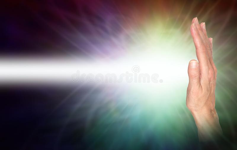 Sending distant healing energy with right hand palm chakra stock illustration