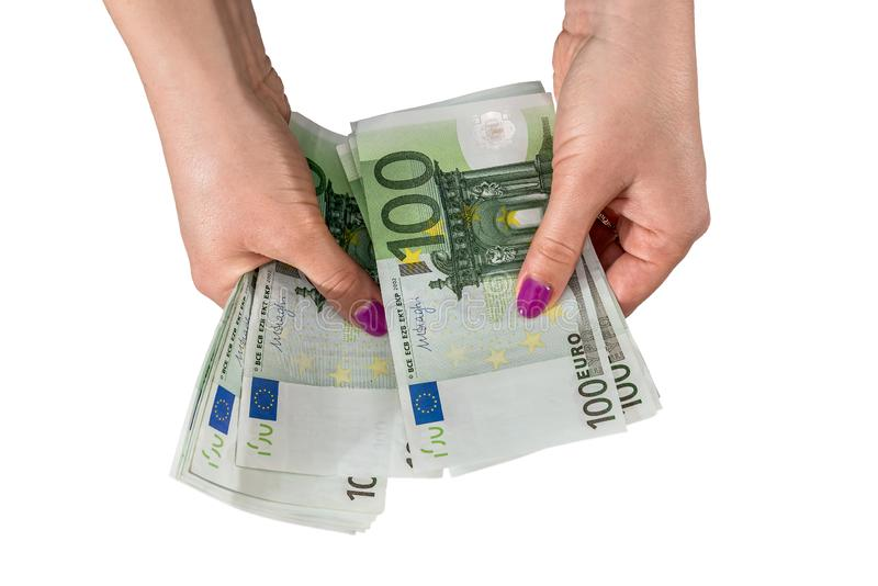 Female hand give you 100 euro bills royalty free stock photos