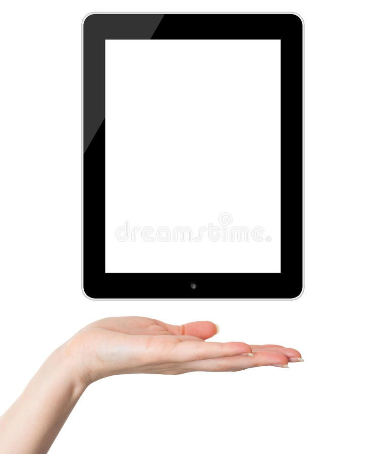 Female hand holding black tablet PC royalty free illustration