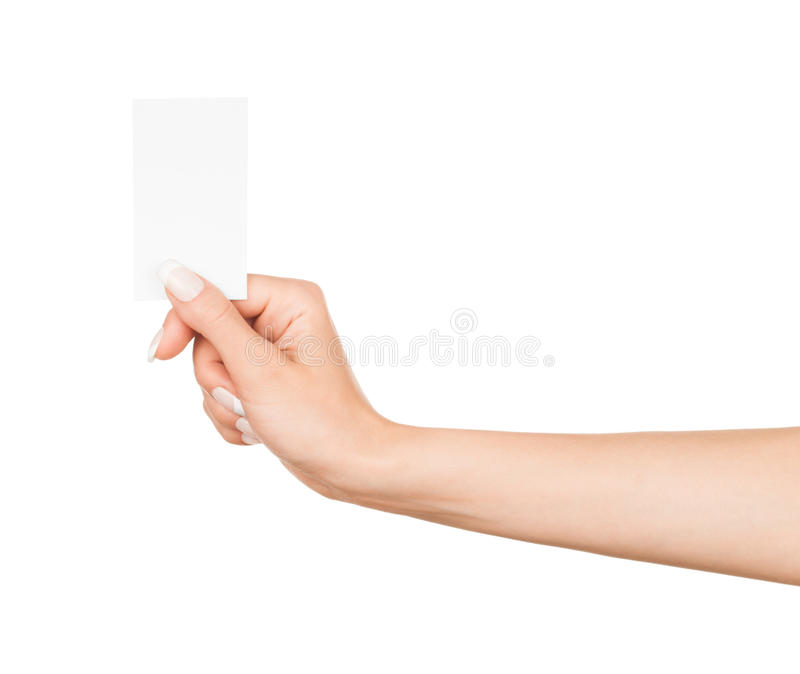 Female hand holding a blank business card royalty free stock images