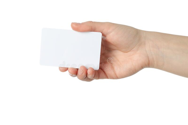 Female hand holding blank business card, isolated on white stock photos