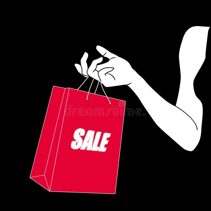 Female hand holding bright red shopping bag. A paper package with text sale in painted hand of young woman. Sale, Black royalty free illustration