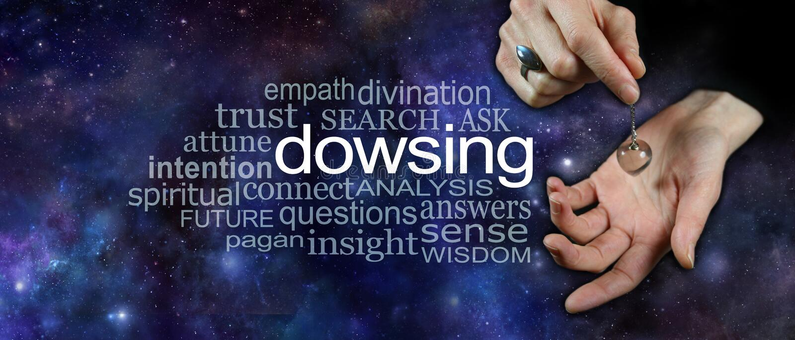 Dowsing with a crystal pendulum word cloud banner. Female hand holding a clear quartz crystal dowsing pendulum over hand on a wide cosmic dark night sky royalty free stock image