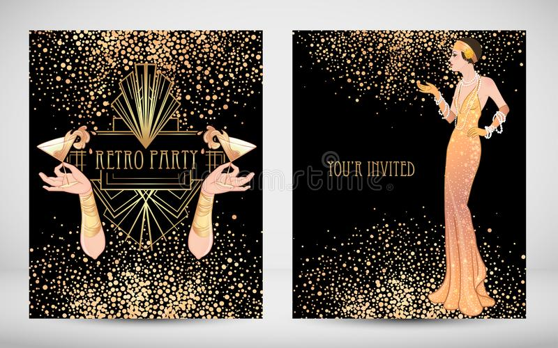Female hand holding cocktail glass with splash. Art deco (1920'. S style) vintage invitation template design for drink list, bar menu, glamour event, thematic royalty free illustration