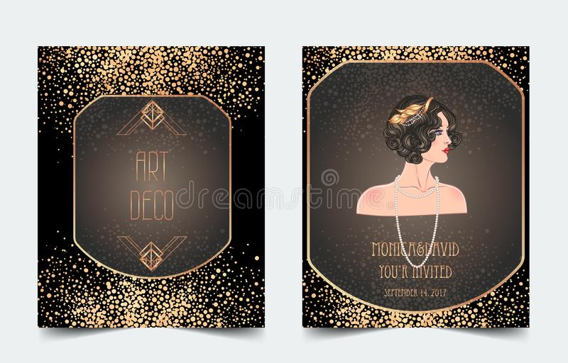 Female hand holding cocktail glass with splash. Art deco (1920\'s style) vintage invitation template design for drink list, bar stock illustration