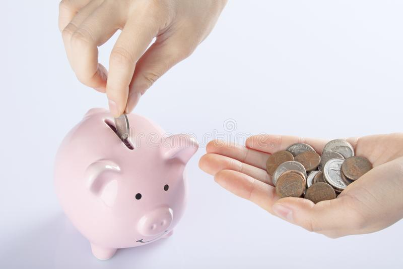 Female hand holding coins piggy bank , white background. Female hand holding Amicana coins and placing a quarter into a piggy bank  on white background stock photography