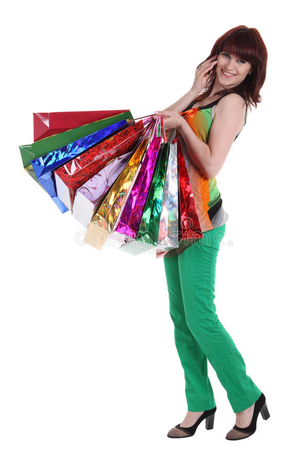 Female Hand Holding Colorful Shopping Bags Royalty Free Stock Image