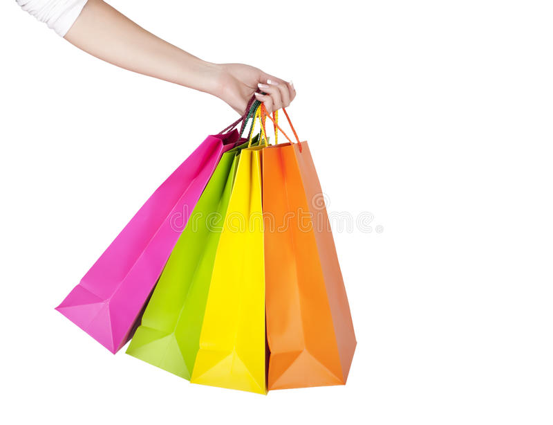 Download Female Hand Holding Colorful Shopping Bags Stock Image - Image of customer, lifestyle: 26629735