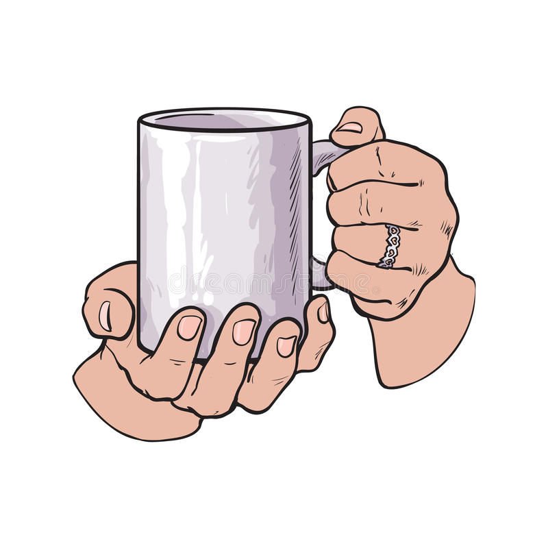 Female Hand Holding A Cup With Hot Beverage Stock Vector - Illustration of isolated, cafe: 78737302