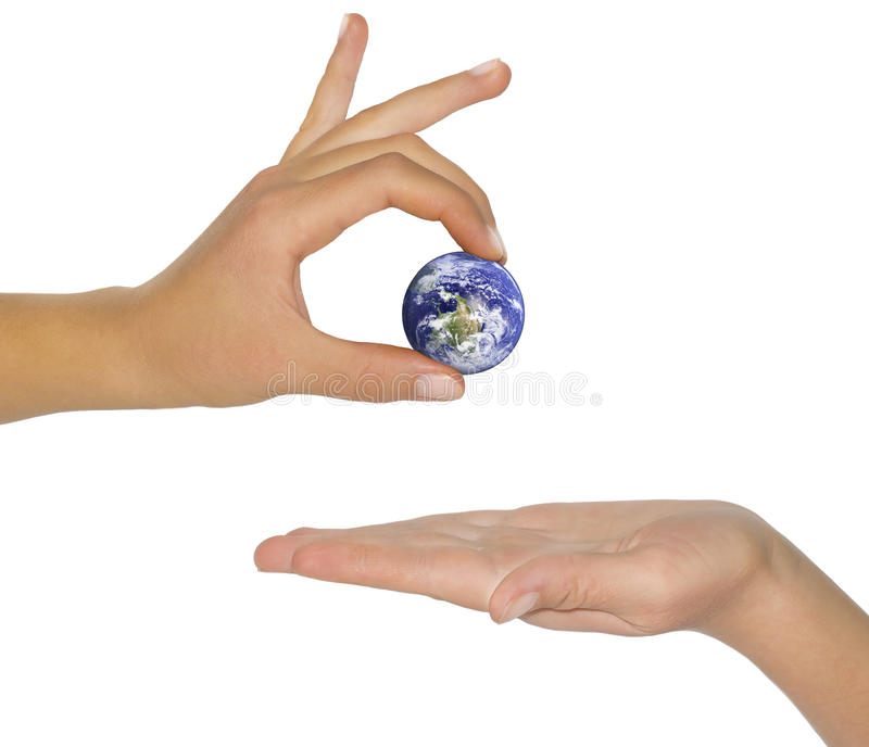 Female hand holding earth. royalty free stock images