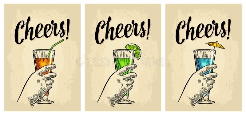 Female hand holding a glasses of cocktails. Vintage vector engraving. Female hand holding a glass of cocktail. Vintage vector color engraving illustration for vector illustration