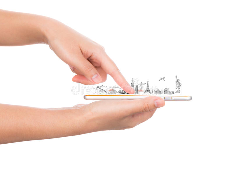 Download Female Hand Holding Gold Mobile Phone Smartphone  Travel Stock Illustration - Image: 54703453