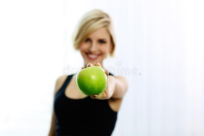 Download Female Hand Holding Green Apple Stock Image - Image: 36109277