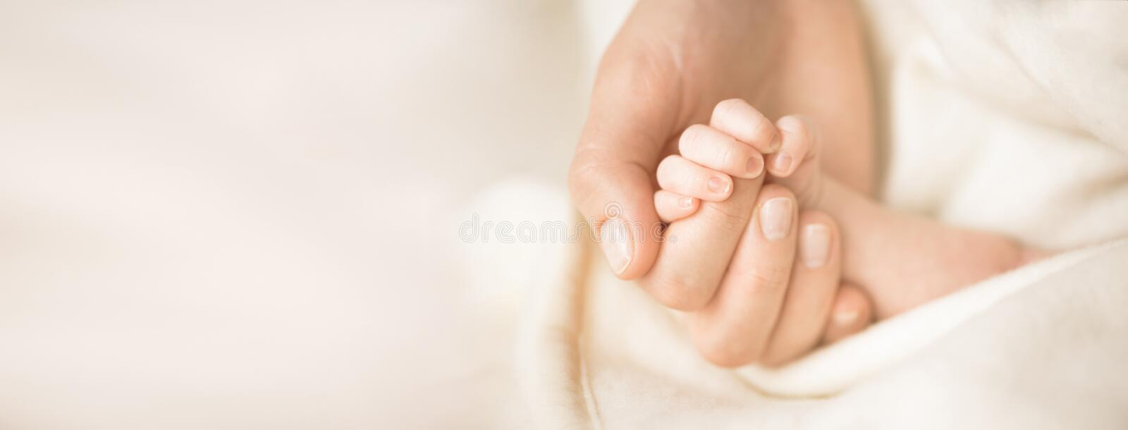 Female hand holding her newborn baby`s hand. Mom with her child. Maternity, family, birth concept. Copy space for your stock photography