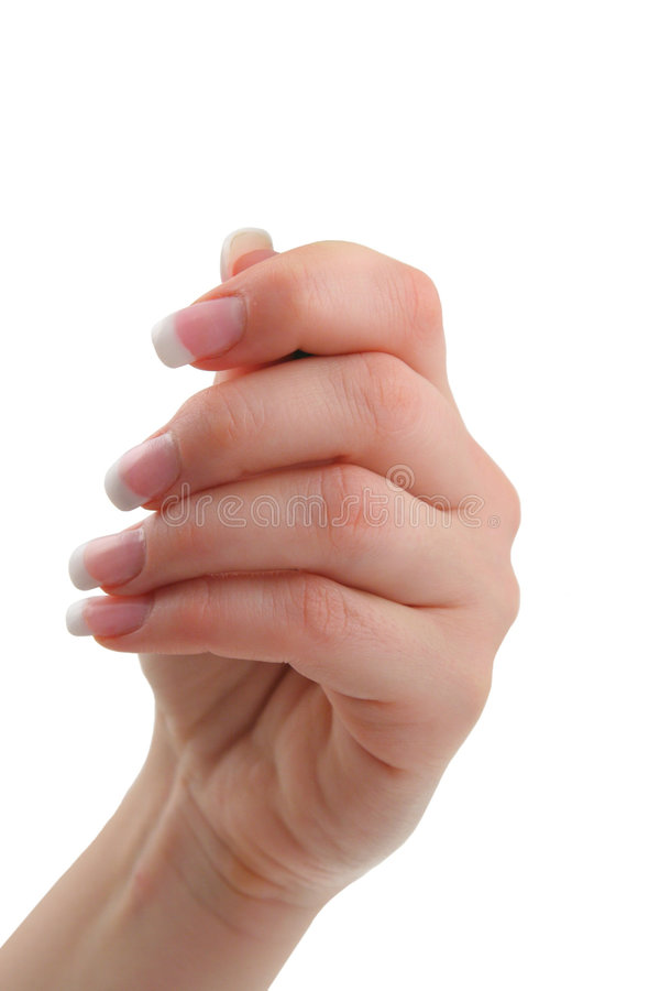 Female hand holding invisible object royalty free stock photos