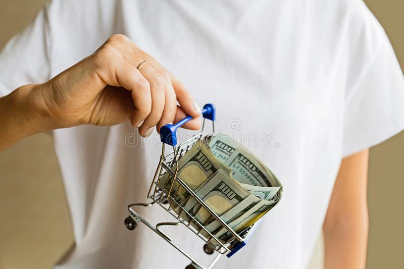 Female hand holding mini grocery cart with cash money one hundred dollars bills royalty free stock image
