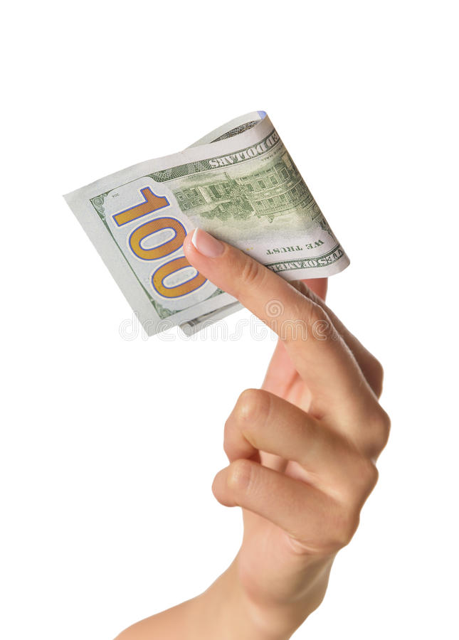 Female hand holding money dollars. Female hand holding 100 US dollars. Isolated on white stock photos