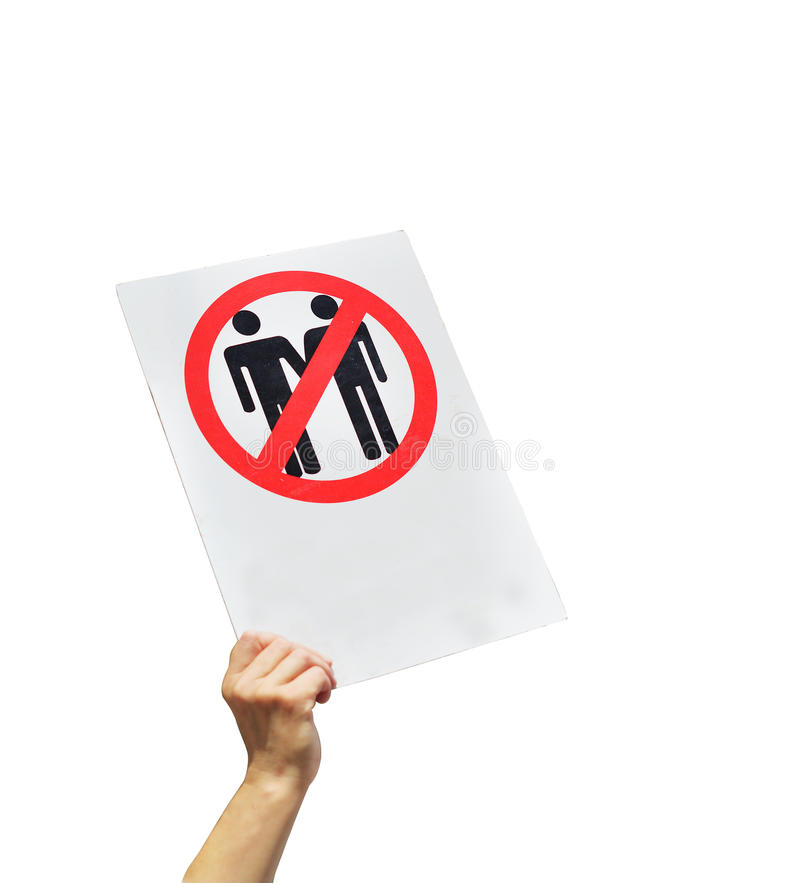 Female hand holding a sign protesting against gay marriage. Same-sex marriage, homosexuality, with empty space for text. Anti- homosexuality concept. Isolated royalty free stock photography