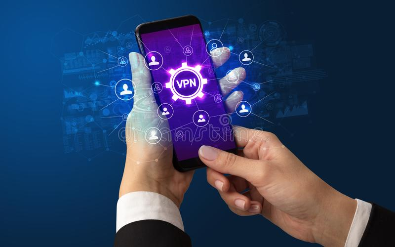 Hand using smartphone with technology concept stock photo