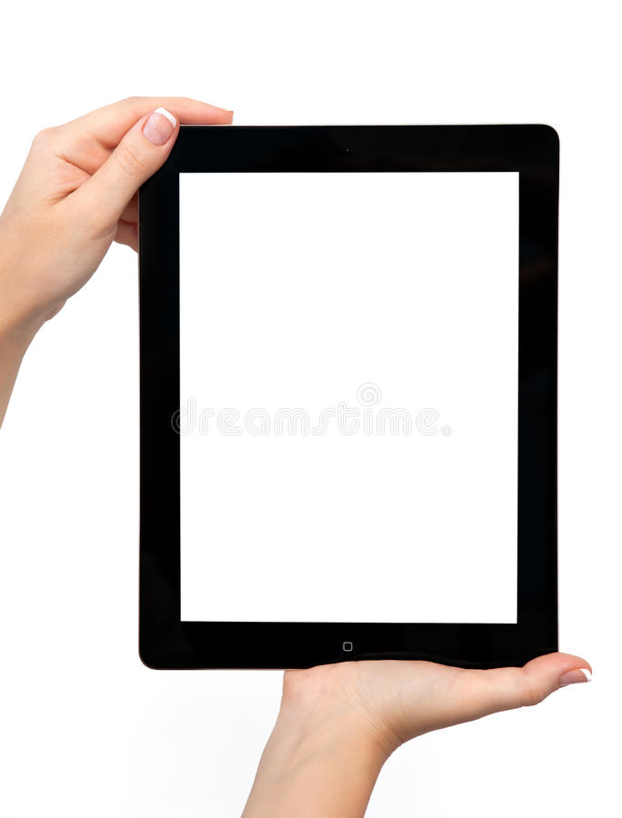 Download Female Hand Holding A Tablet Stock Photo - Image: 25739194