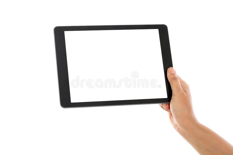 Female hand holding a tablet computer royalty free stock image
