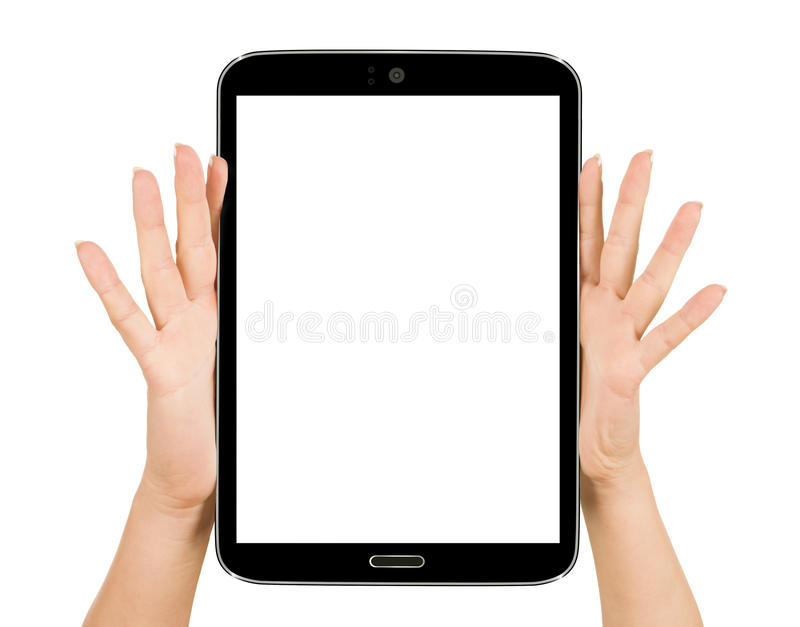 Female hand holding a tablet touch pad computer gadget stock photography