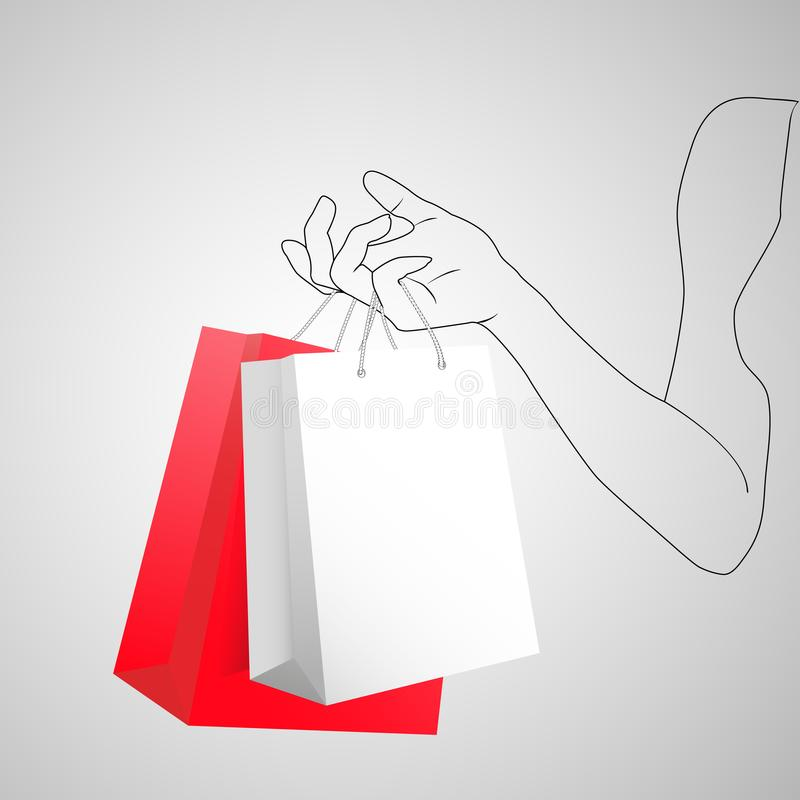 Female hand holding two colorful shopping bags. Two gift packages red and white in painted hand of young woman. 3D vector illustration