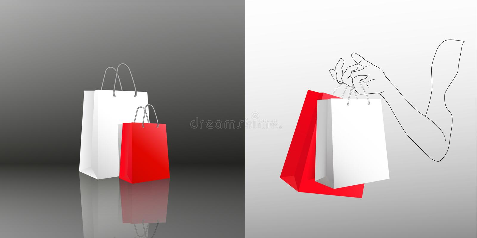 Female hand holding two shopping bags. Two gift packages red and white in painted hand of young woman. Packing bags with vector illustration