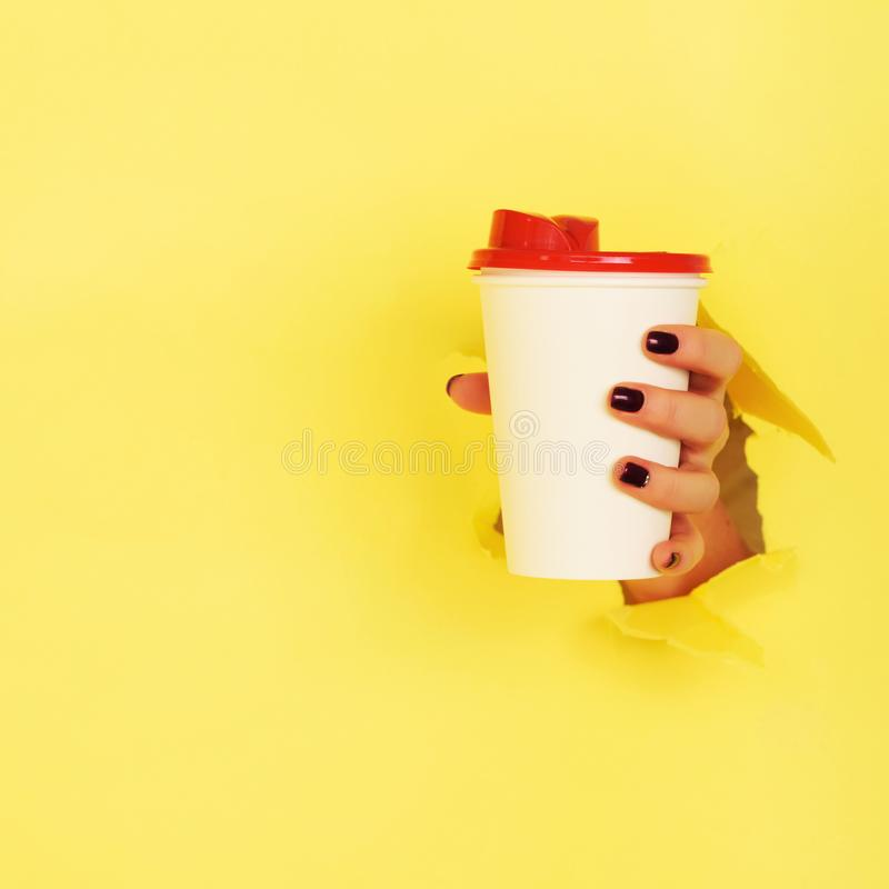 Female hand holding white paper mug on yellow background. Take away coffee cup concept. Mock up with copy space. Square crop stock photography