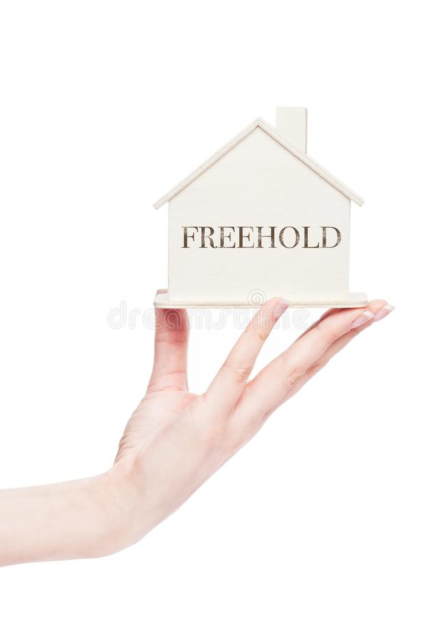 Female hand holding wooden house model with text. Female hand holding wooden house model with conceptual text. Freehold royalty free stock image