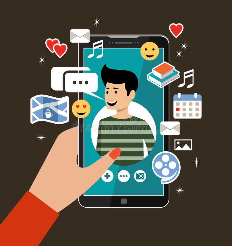 Female hand holds phones with a men`s profile. Online dating and social networking concept. Virtual love. stock illustration