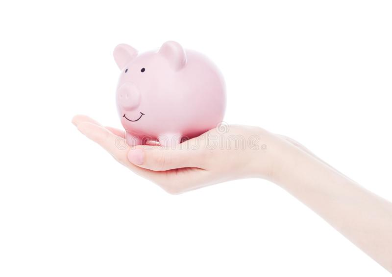 Female hand holds pink piggy bank. On white background royalty free stock image