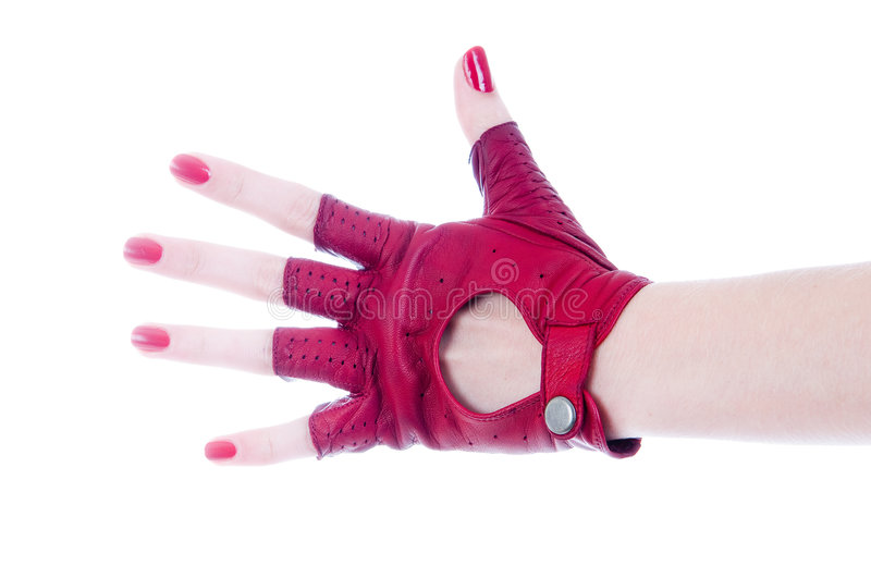 Female hand in leather glove. Female hand in leather fingerless glove stock images