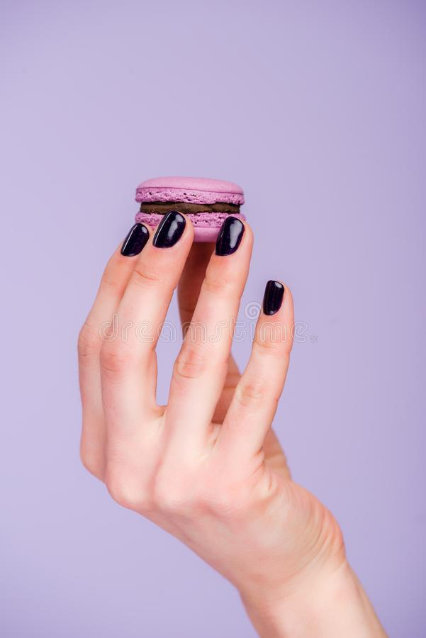 Female hand with macaron royalty free stock photo