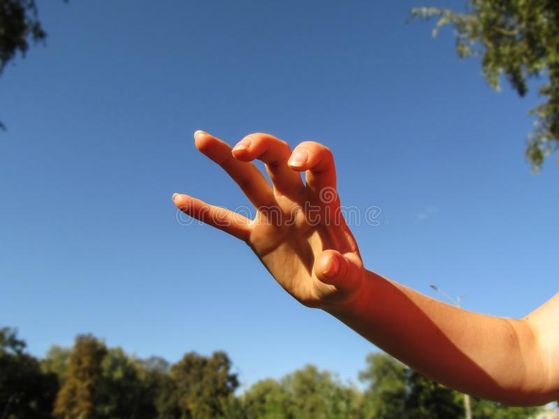 Female hand makes frightening or grabbing movement, palm forward. One female hand with five splayed fingers, close-up,  stock photography