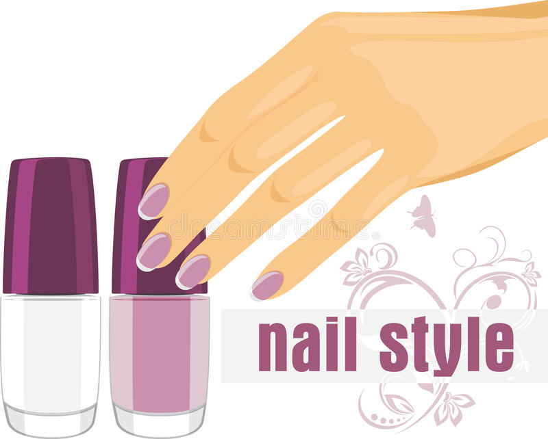Female hand with manicure and nail polish. Banner vector illustration