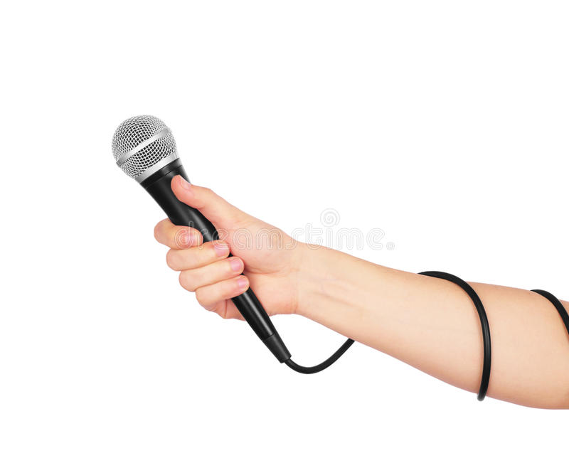 Female hand with microphone, stock image
