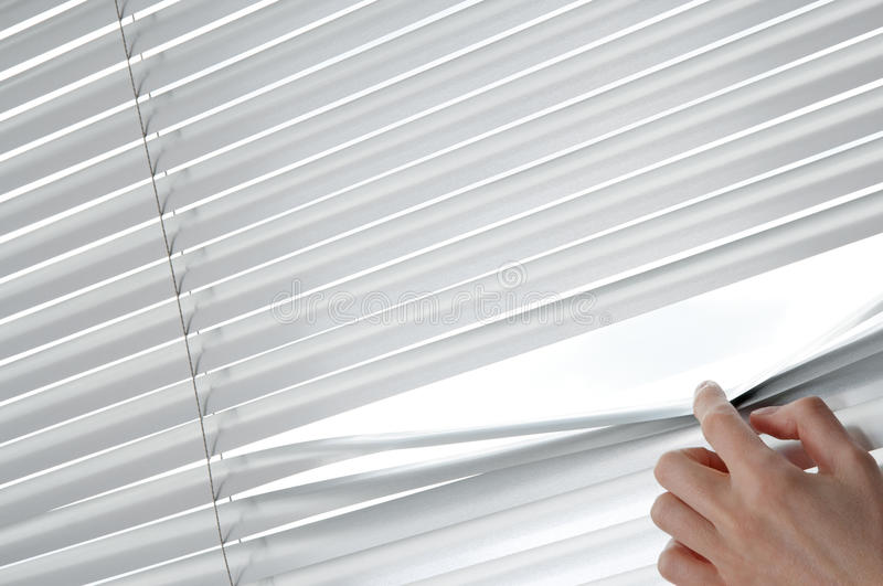 Female hand opening venetian blinds with a finger. Female hand separating slats of venetian blinds with a finger to see through stock photography