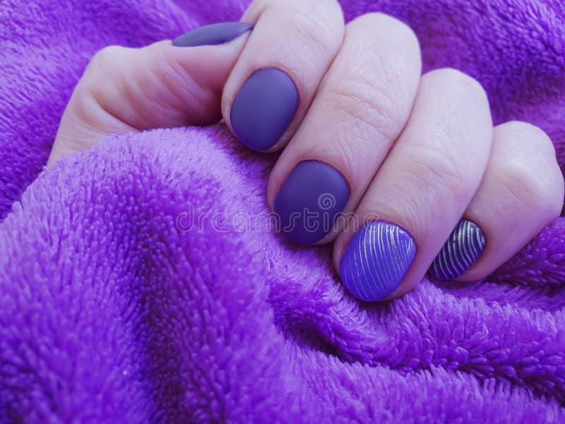 Female hand painting purple winter elegance manicure, fur elegance, cosmetic. Female hand purple manicure painting fur elegance, cosmetic elegance winter stock image