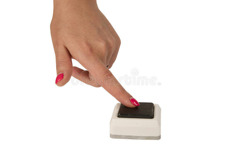Female hand press a button isolated on white background. Female hand press a button isolated on white stock photo